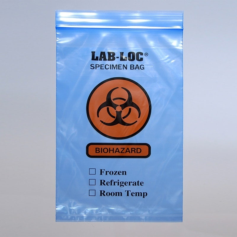 "6"" X 9"" Blue Tint Reclosable 3-Wall Specimen Transfer Bag (Biohazard)"