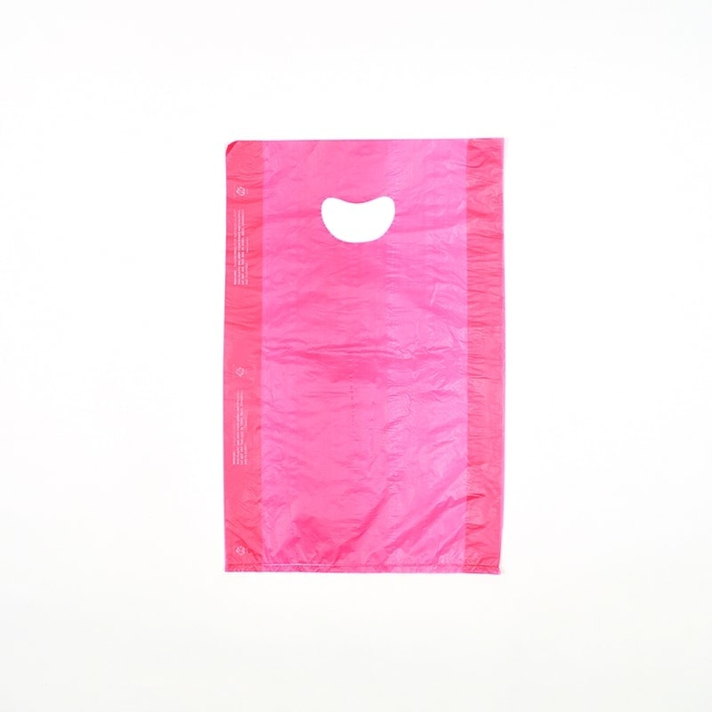 "12"" X 3"" X 18"" Red High Density Polyethylene Merchandise Bag with Die Cut Handle"