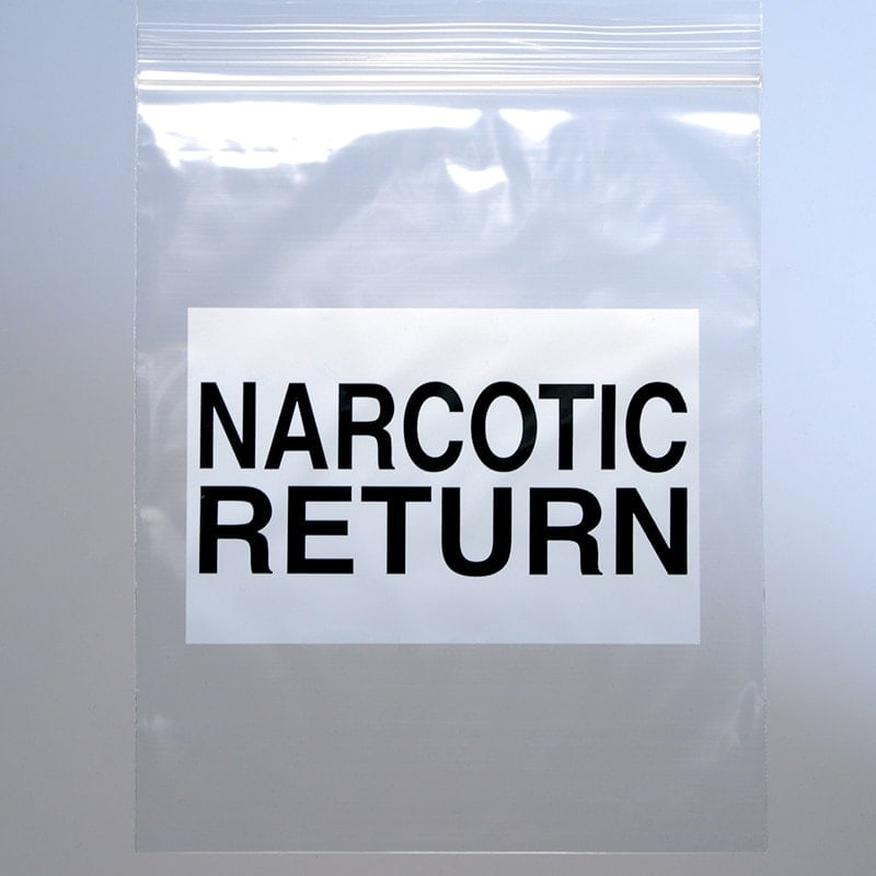 "6 1/2"" X 8"" Narcotic Return Bag - Seal Top Reclosable"